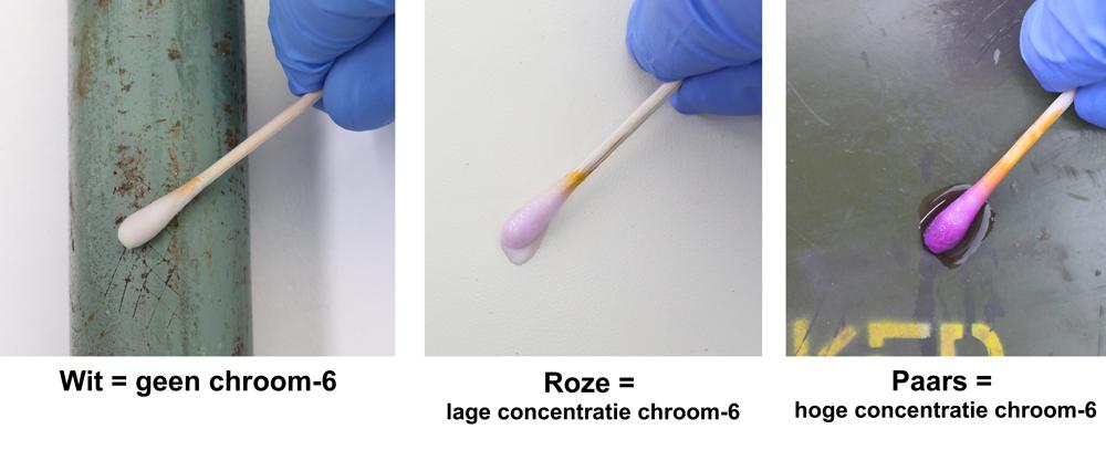 TK11-HS Chroom-6 Detectie Testkit - High Sensitive Wit = geen chroom-6; Roze = lage concentratie chroom-6; Paars = hoge concentratie chroom-6