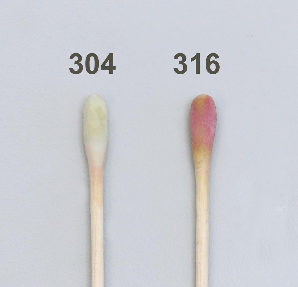 Voorbeeld 304-316 teststaven